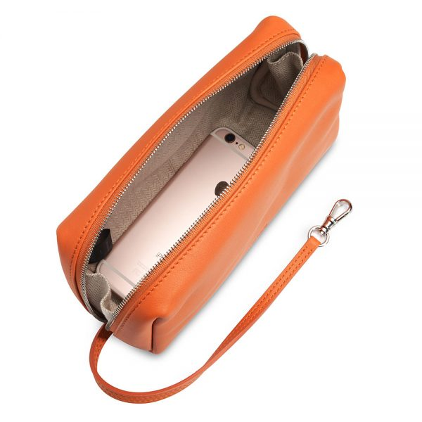 Melkco StorageBag Chevre Leather L Size(Lake Blue/Orange)