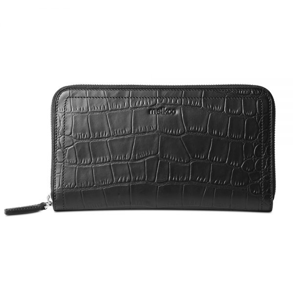 Melkco Bruni Wallet In Genuine Leather (Embossed Crocodile Black)