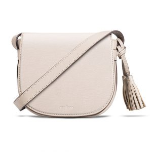Melkco Blooming Series Mini Saddle Bag in Genuine Leather (Beige)
