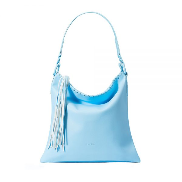 Melkco Fashion Diamond Braid Series - Soft Faux Leather Shoulder Bag (Light Blue PU)