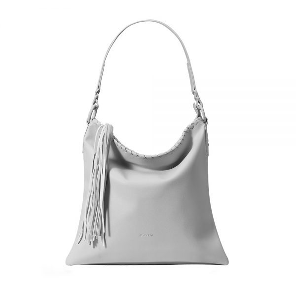 Melkco Fashion Diamond Braid Series - Soft Faux Leather Shoulder Bag (Light Grey PU)