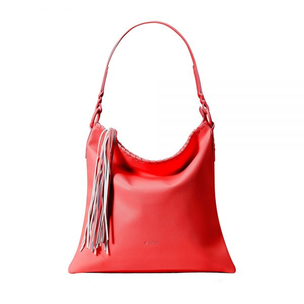 Melkco Fashion Diamond Braid Series - Soft Faux Leather Shoulder Bag (Red PU)