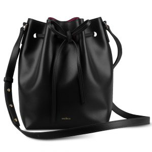 Melkco Fashion Purden Bucket Bag in Cross pattern Genuine leather (Black)