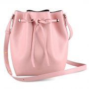 Melkco Fashion Purden Bucket Bag in Cross pattern Genuine leather (Cherry blossoms)