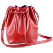 Melkco Fashion Purden Bucket Bag in Cross pattern Genuine leather (Red)