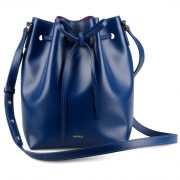 Melkco Fashion Purden Bucket Bag in Cross pattern Genuine leather (Sapphire Blue)