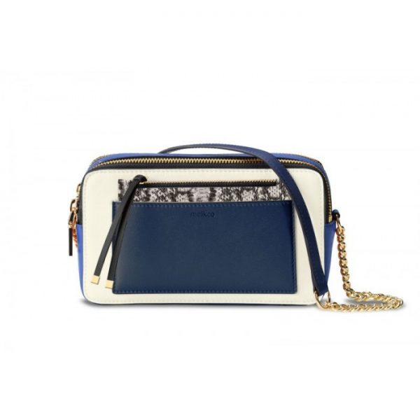 Melkco Lollipop Series Mini Turn Lock Crossbody Bag (Dark Blue Snake)