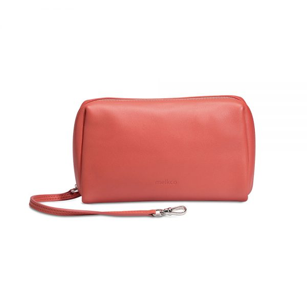 Melkco Storage Bag In Chevre Leather L Size(Red/Black)