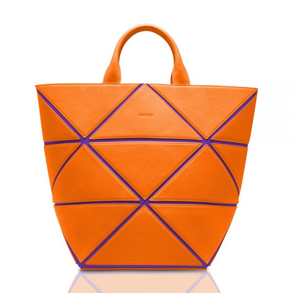 Melkco Storage Bag In Chevre Leather M Size(Lake Blue/Orange)