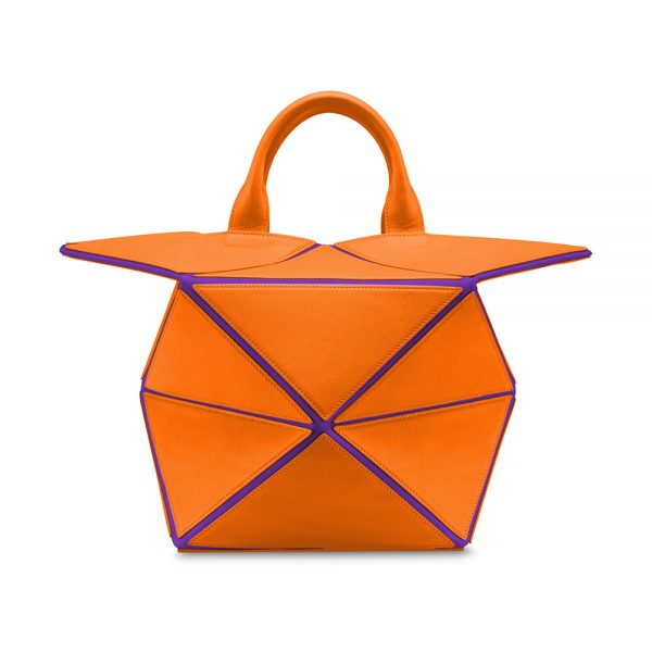 Melkco Storage Bag In Chevre Leather M Size(Purple/Orange)